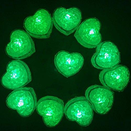 Hongtang 12Pcs Love Heart Liquid Sensor LED Light Up Glow Ice Cubes Molds Party Supplies Decoration Green -