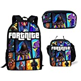 3D Fortnite Backpack School bags Student Laptop Backpack Cartoon Games Lunch Bag Pencil Case Bags Set for Teen Boys Girls 3 pack