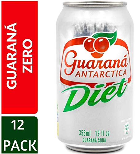 Guaraná Antarctica Diet 355ml (Pack of 12) Diet Guaraná-Flavoured Soft Drink, Made from Amazon Rainforest Fruit, Imported from Brazil