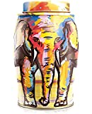 Williamson Painterly Summer Elephant with 40 English Breakfast Tea bags Tea Caddy Tin