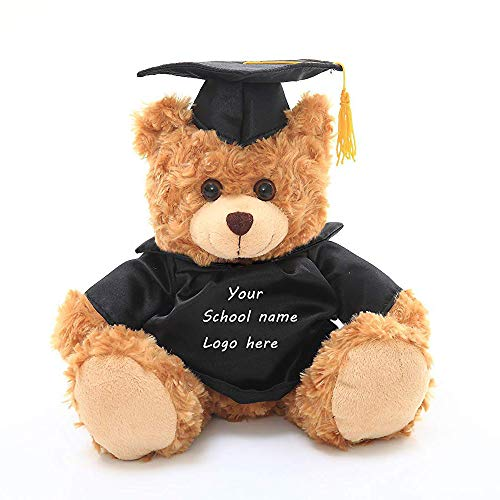 (Plushland Plush Stuffed Animal Toys 12 Inches Present Gifts for Graduation Day, Personalized Text, Name or Your School Logo on Gown, Best for Any Grad School Kids (Black Gown))