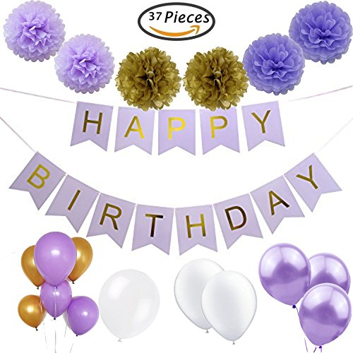 Party Tonight 37 Pcs Lavender Happy Birthday Bunting Banner with Gold Letters,Tissue paper Pom Pom Flowers,Latex Balloons, Great for All Birthdays Decoration, Holidays, Anniversary, Baby - Vegas Town Square Las