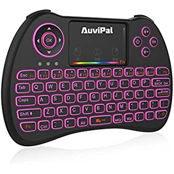 AuviPal R9 2.4GHz Mini Wireless Keyboard Mouse Combo with 2 in 1 USB Cable for Amazon Fire TV Stick (2nd Gen), Android Phone/Tablet/TV Box and More - RGB Colorful Backlit Version