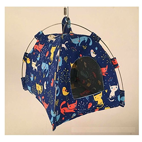 Stock Show Bird Tent Parrot Hanging Hammock with Soft Dual-use Mat Budgerigar Cockatiels Cockatoo Conure Lovebird Finch Nest Parakeet Tent Hut Cage Decor for Small Animals Birds, Blue by Stock Show