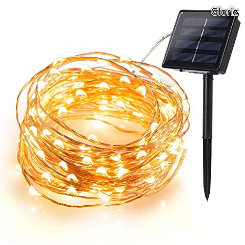 Cadena Luces Solares, Gloriz 22M 200 LED 8 Modos 3 Hilos de Alambre de Cobre IP65 Impermeable Guirnalda Luces Solares para...