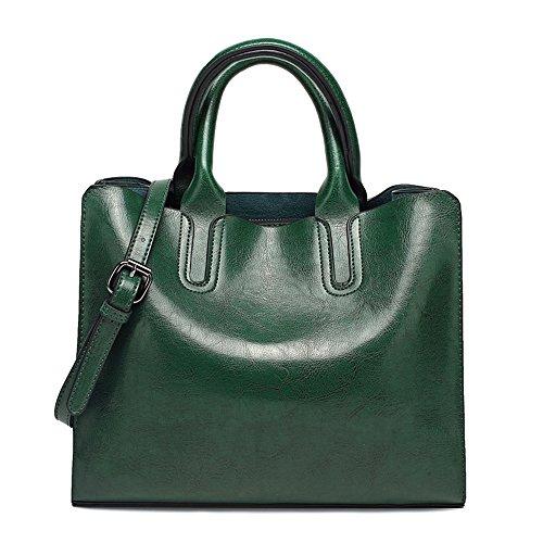 HQADIER Einzelner Schulter Crossbody Tasche Handtasche Diagonal Frühling Öl Wachs Bagportable Retro Tasche Damen Einkaufstasche Diagonal Große Tasche Green wIlB6