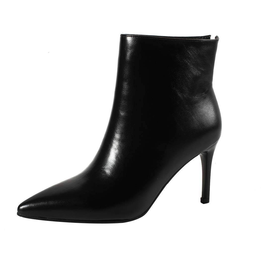 Black MAYPIE Womens ToAsia  Leather Slip-on Ankle Boots