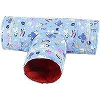 lymty Katzentunnel-Spielzeug, faltbares Rohr DREI verbundener Laufwegewegtunnel Katzenminze-Haus mit Spaßball-Puzzlespiel trainieren und Spielen