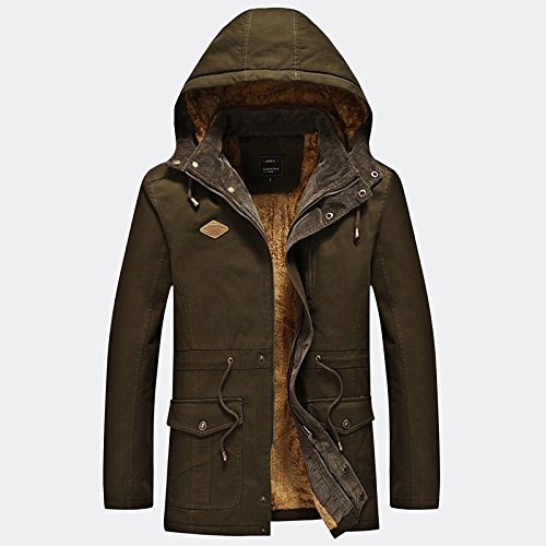 Casual Winter Sleeved Daily Men Holiday Regular Army Lemumu Cotton Cashmere Long Fixed Coat Simple Green Hood HqAEc0