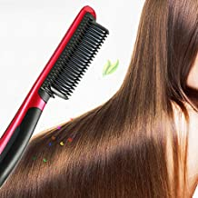 SymbolLife Digital Professional Comb Brush Electric Heating Straightening Hair Brush Heating Comb Ceramic Hair Straightener Brush Red