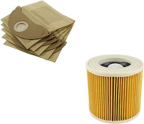 Find A - Bolsas de papel para aspiradora Karcher WD2240 WD2200, paquete de 1 filtro + 5 bolsas: Amazon.es: Grandes electrodomésticos