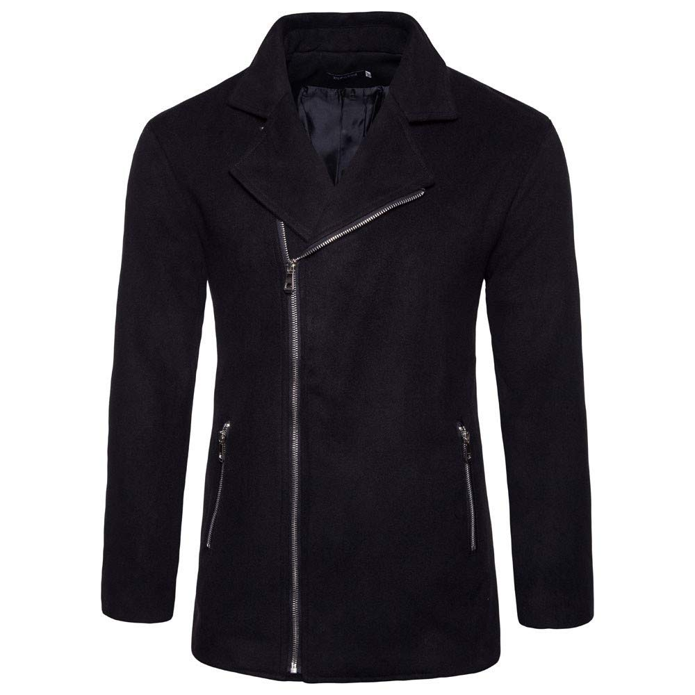 Men's Winter Coat Sale Casual Fashion Turn-Down Zipper Long Sleeve Slim Jacket Black