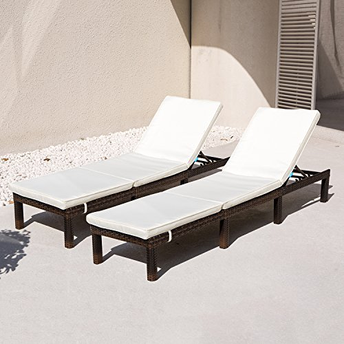 COMHO Patio Chaise Lounge Outdoor Adjustable Wicker Lounge Chairs with Cushions (Sets of 2) Review