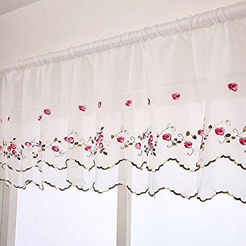 (ZHH Floral Window Valance Two-Layer Handmade Embroidered Cafe Curtain 15 by 57-Inch, Pink Rose Pattern on White)