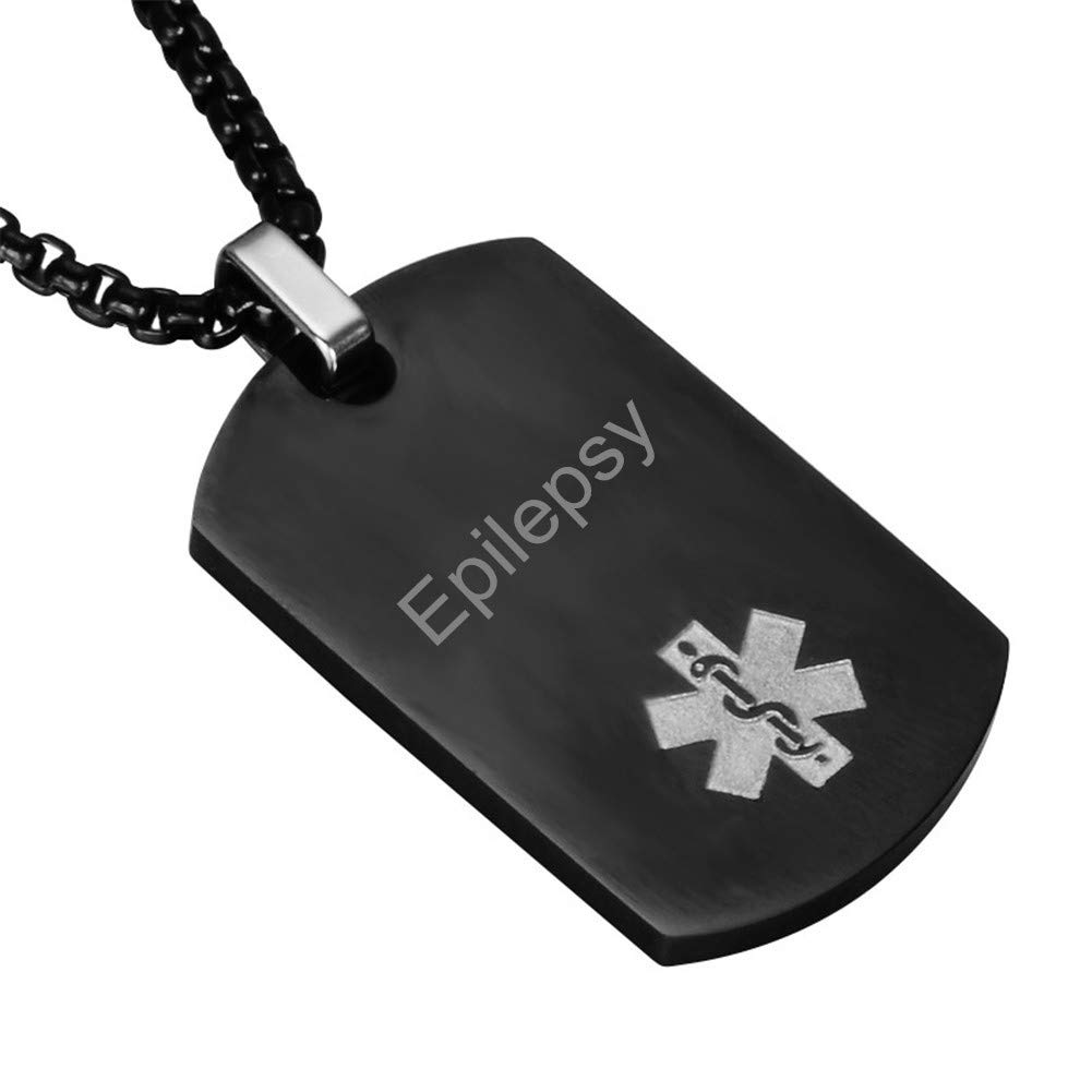 CF Customizable Free Engraving Blank Stainless Steel Medical Alert Disease Awareness Identification ID Necklace Pendant,Emergency SOS Daily Life Saver for Kids,Adults,Grandpa,Grandma-Black