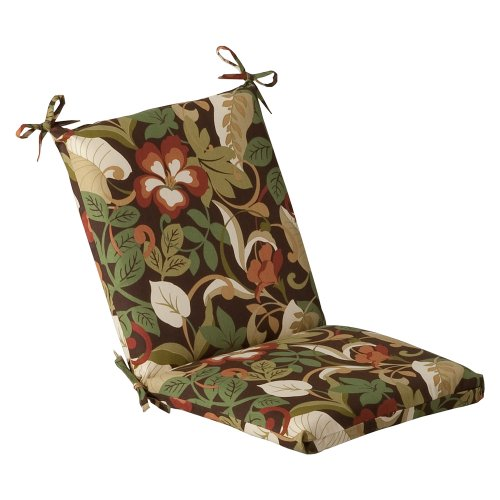 Tropical Outdoor Furniture - Pillow Perfect Indoor/Outdoor Brown/Green Tropical Chair Cushion, Squared