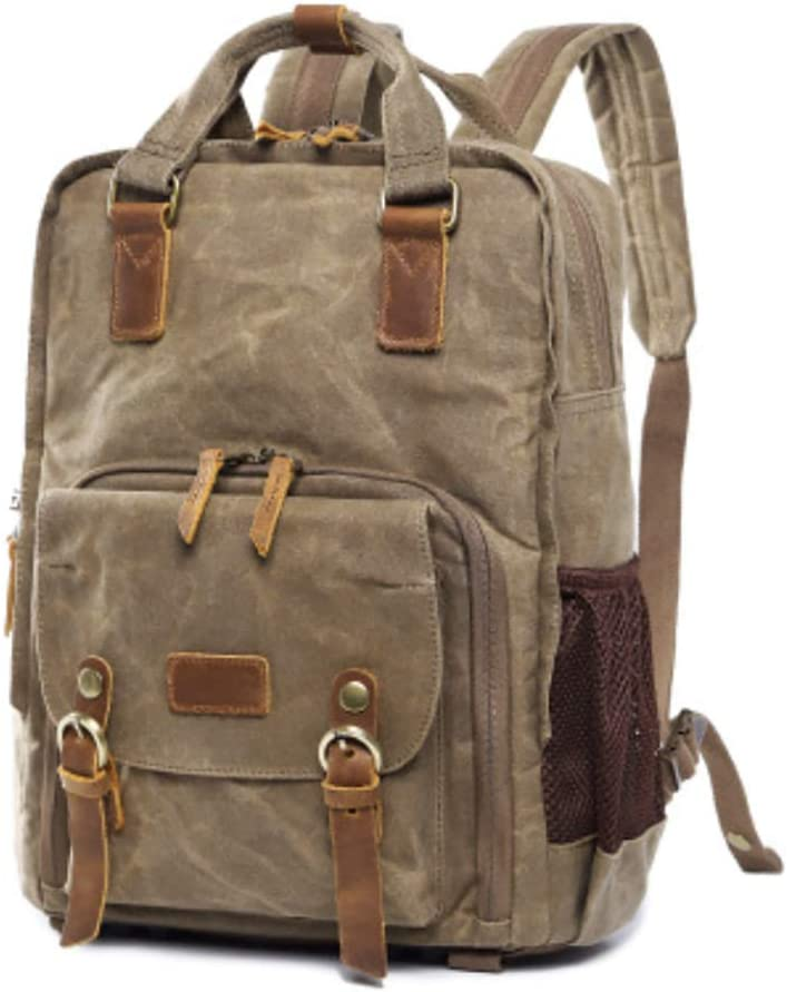 Binglinghua Vintage Camera Photography Backpack Waterproof Leather Canvas Bag Large Space-BLHTYC6982 Green