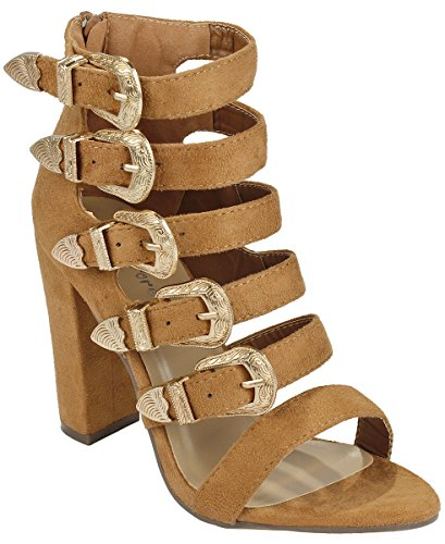 JJF Shoes Women Beso Tan Wing Adjustable Buckle Decor Strappy Faux Suede Zip Chunky Block Heel Gladiator (Brown Suede Zip)