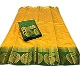 Nirja Creation Multi Color Fancy Party wear Cotton Silk Saree (Yellow)
