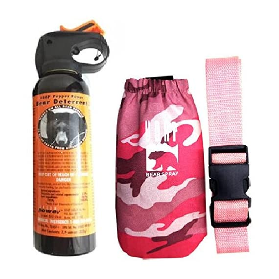 UDAP Bear Spray With Pink Camo Hip Holster & Belt 1 Includes pink camouflage hip holster with belt. Hottest Bear Spray Formula at 2% CRC Most Powerful Bear Spray Fog!