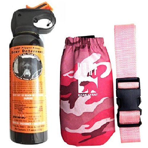 UDAP Bear Spray With Pink Camo Hip Holster & Belt