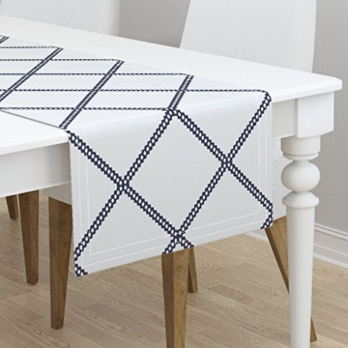 Table Runner - Navy Diamond Diamon Diamond Navy Geometric Duralee Kravet Blue Diamonds by Jenlats - Cotton Sateen Table Runner 16 x 90 ()