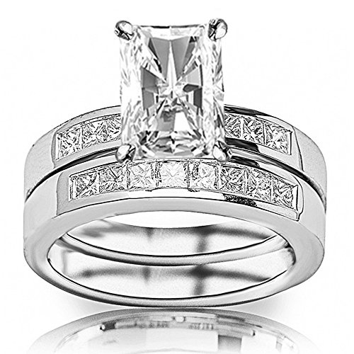 1.85 Ctw 14K White Gold Classic Channel Set Princess Cut Engagement Ring and Wedding Band Set w/ Radiant 1 Carat Forever One Moissanite Center - Moissanite Princess Jewelry Set