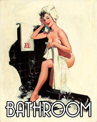 Bathroom through window Pinup Pin-up Girl METAL 6x8inch Wall Sign Plaque Vintage Retro poster art picture print by Chill