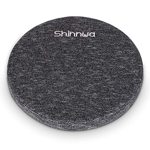 Shinnwa Round Seat Cushion for Kitchen Dining Chairs, Memory Foam Butt Pad with Washable Knitted Cover Non Slip Stool Cushion Round Black 16 x 16 Inch
