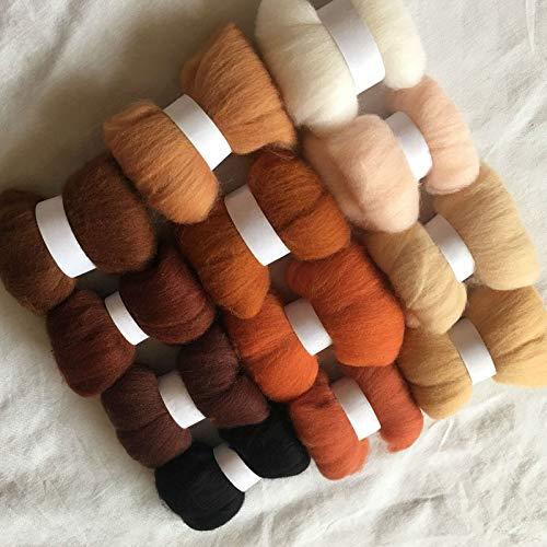 Maslin 12colors Wool for Felting 70S Wool Felt Needle Felting 5g/10g/20g/50g/100g/color Merino Wool roving Wool Felt Fabric - (Color: 100g Total 1200g)