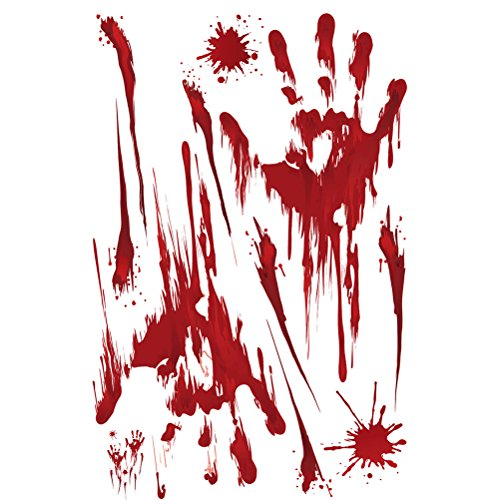 AMOSFUN Red Graphic Bloody Sticker Splatter Handprint for Halloween Costume Decor Decal Sticker -
