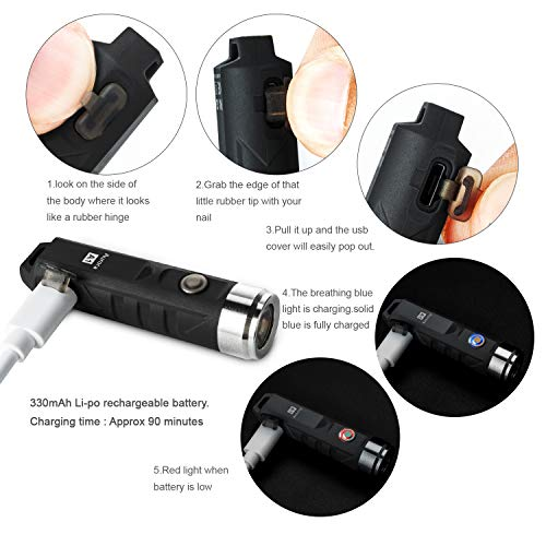 RovyVon Aurora A1x 650 Lumens XP-G3 S5 LED Super Bright Outdoor EDC Mini Keychain Rechargeable LED Flashlight, Rechargeable Small Torch(Black)