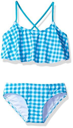 Kanu Surf Toddler Girls' Karlie Flounce Bikini Beach Sport 2-Piece Swimsuit, Lilly Aqua Check, 2T