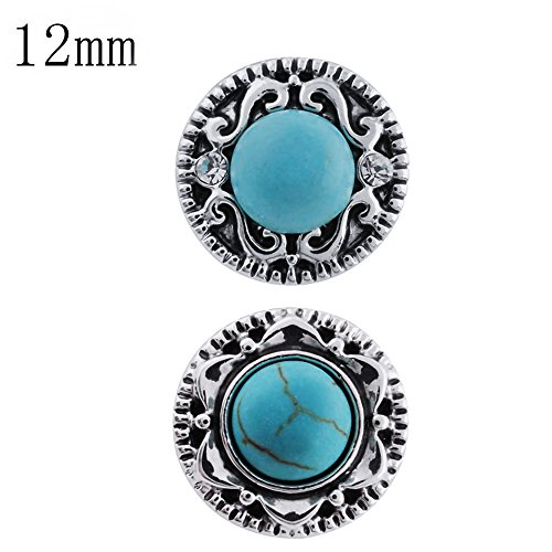 Lovmoment Snaps 12MM Round with Turquoise Interchangeable Snaps Jewelry Button Charms