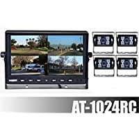 AUDIOTEK AT-1024RC 10 TFT LCD MONITOR AND REAR VIEW BACK UP - 4 CAMERAS COLOR WATERPROOF WITH NIGHT VISION FOR RV / BIG SEMI TRUCK / BUS