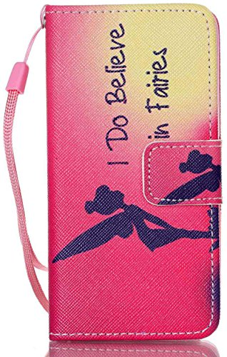 Aiyze iPod Touch 6 Case iPod Touch 5 Wallet Cases Color Printed PU Leather Credit Card Holder Flip Cover with Free Stylus Gift (I Do Believe in Fairies)
