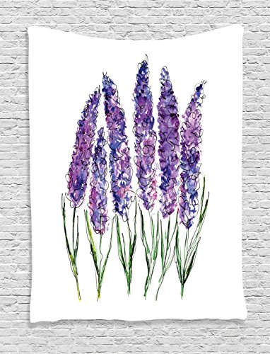 Water Wall Collection (Ambesonne Watercolor Flower Decor Collection, Illustration of Lavender Flowers with Fresh Colors Mint Family Plant, Bedroom Living Room Dorm Wall Hanging Tapestry, Violet Green White)