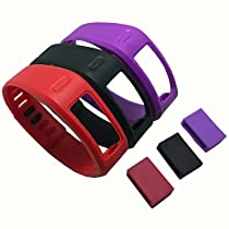 Weinisite Band with Fasteners for Garmin Vivofit Wristbands/Garmin Vivofit Fitness,No Tracker (Black&Purple&Red+3 pcs fasteners, S)