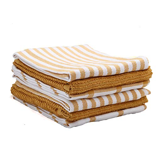 KAF Home Mixed Flat & Terry Kitchen Towels | Set of 6 18 x 28 Inches | 4 Flat Weave Towels for Cooking and Drying Dishes and 2 Terry Towels, for House Cleaning and Tackling Messes and Spills (Ochre)