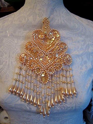 5'' X 8'' Fancy Fringe Bead & Sequin Applique - Coral/Salmon