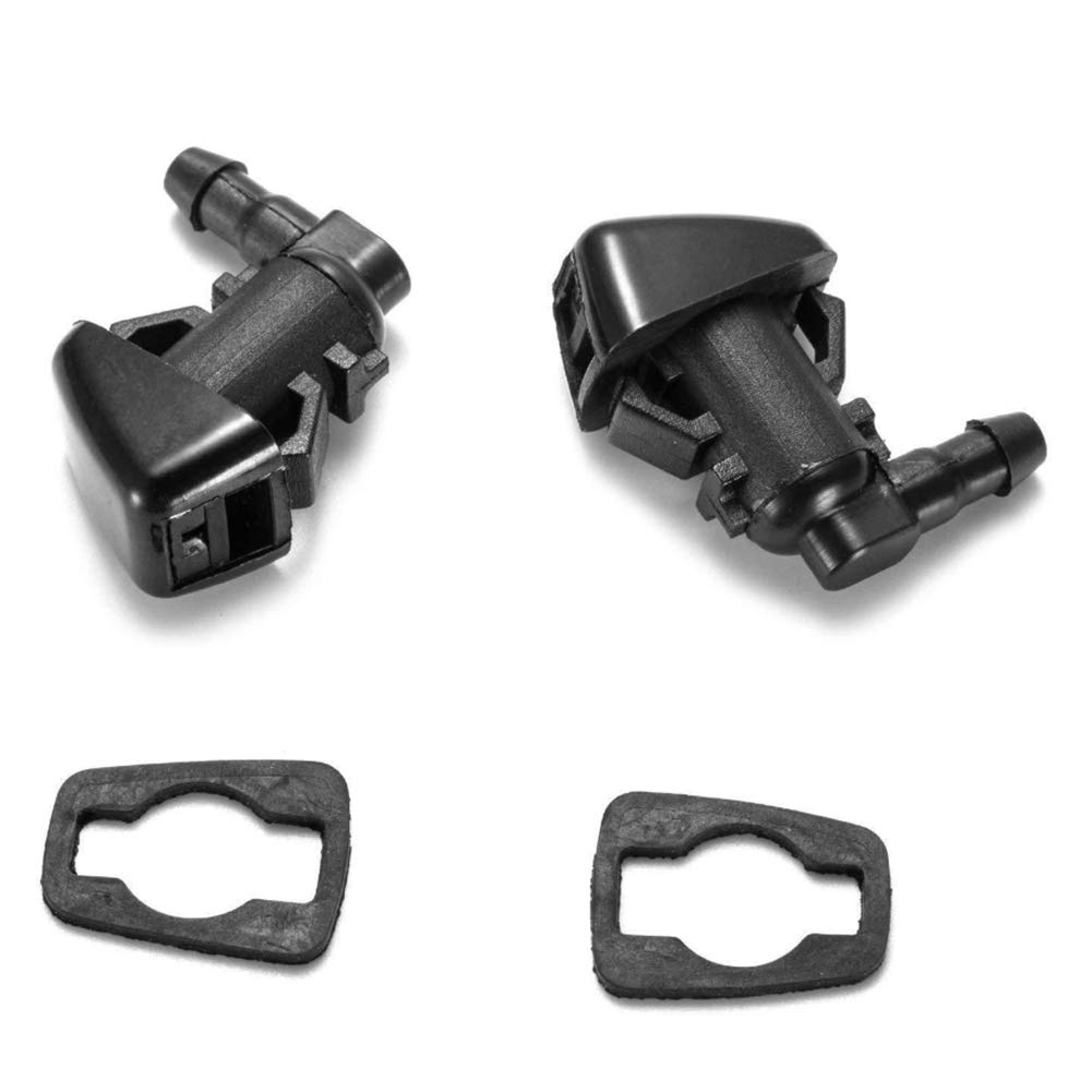 Cheriezing Front Windshield Washer Nozzles Wiper Spray Kit Single Hole for 2007-2012 Dodge Nitro 2006-2010 Jeep Commander 2008-2013 Liberty (2 pack) Replace # 55157319AA
