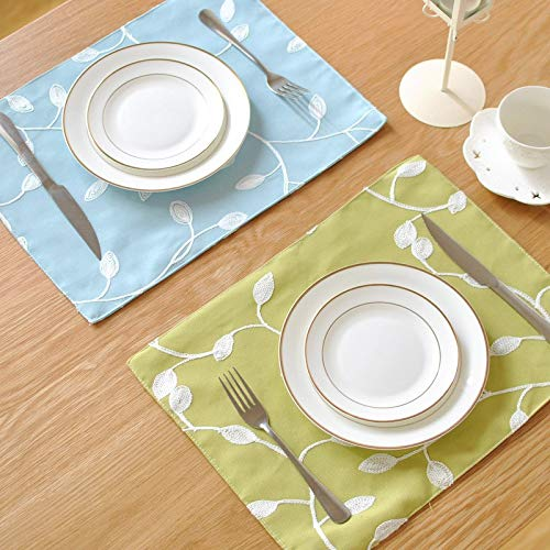 (Mats & Pads - Table Mats Tableware Pads Embroidery Mat Cloth Korean Rural Wind Double Disk Pad Placemat Napkin - Restaurant Pink Rectangle Navy Modern Decorative Runner Long Turquoise Bamboo Gree)