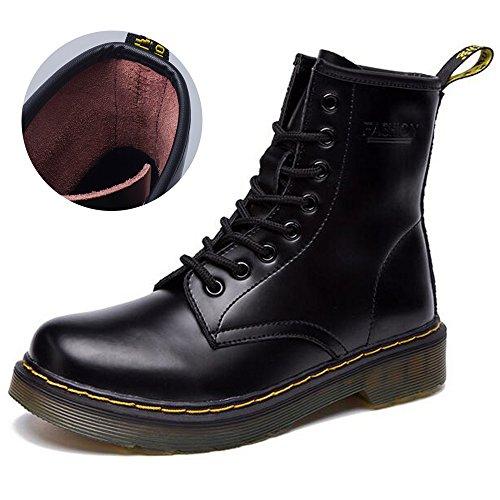 JACKSHIBO Women's Men's Fashion Leather Motorcycle Shoes Winter Combat Boots