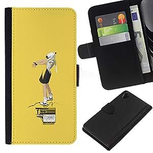 All Phone Most Case / Oferta Especial Cáscara Funda de cuero Monedero Cubierta de proteccion Caso / Wallet Case for Sony Xperia Z2 D6502 // Yellow Street Art