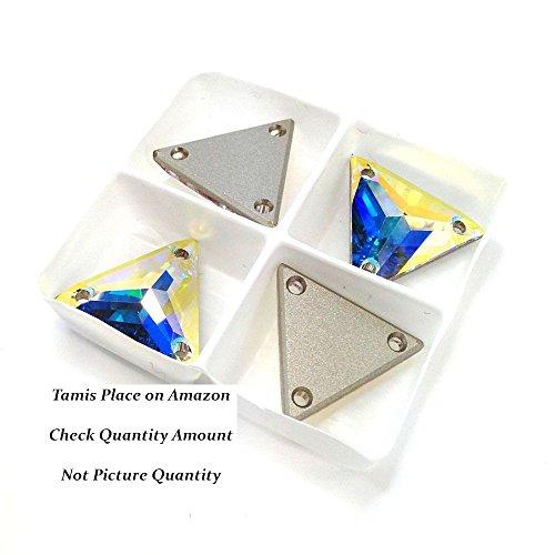 Swarovski Crystal Triangle (SWAROVSKI 3270 Sew On FlatBack TRIANGLE Crystal AB 16mm)