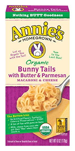 Annie's Organic Macaroni and Cheese, Bunny Tails with Butter & Parmesan Mac and Cheese, 6 oz Box (Pack of 6)