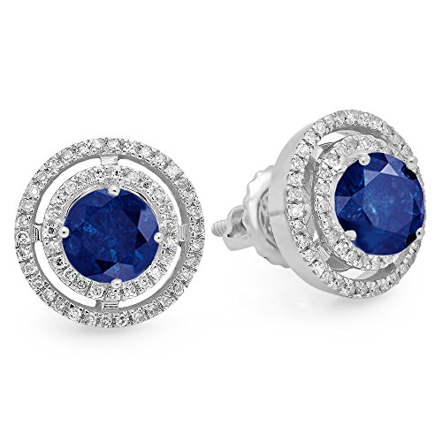 14 Kw Sapphire Diamond (14K White Gold Round Blue Sapphire & White Diamond Ladies Halo Style Stud Earrings)