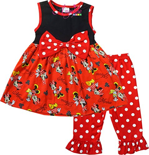 Boutique Clothing Girls Summer Disney World Minnie Mouse Polka Dots Capri Set (Dot Capri Set)