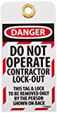 NMC LOTAG32''DANGER - DO NOT OPERATE CONTRACTOR LOCK-OUT'' Lockout Tag, Unrippable Vinyl, 3'' Length, 6'' Height, Black/Red on White (Pack of 10)