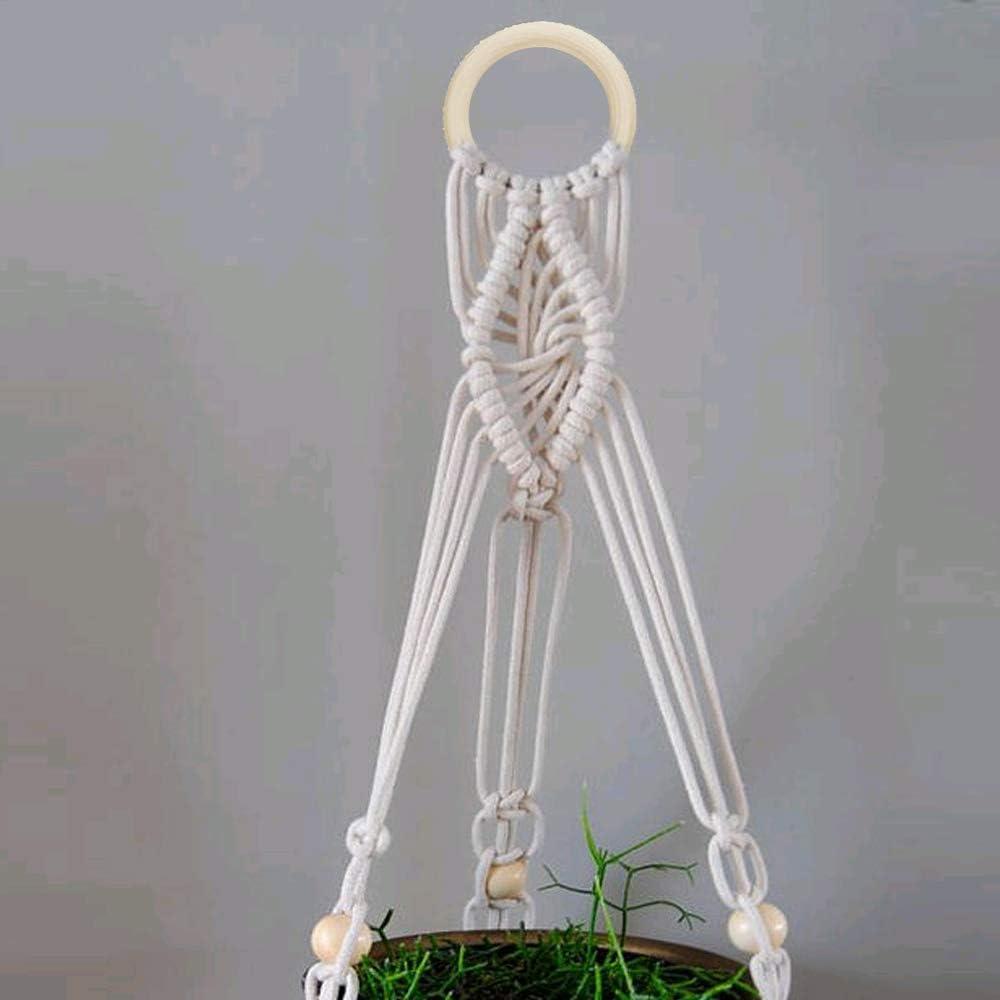 KINDPMA Corde Macram/é 3mm Kit Corde DIY Naturelle Rouleau Corde Jute en Coton avec 12pcs Perles en Bois et 6pcs Anneaux en Bois pour DIY,Support de Plante,Tapisserie,Nappe de Drapeau,Rideau